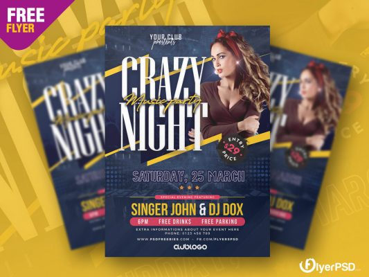 Crazy Night Party Flyer PSD