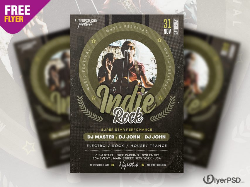 Indie Rock Party Flyer PSD