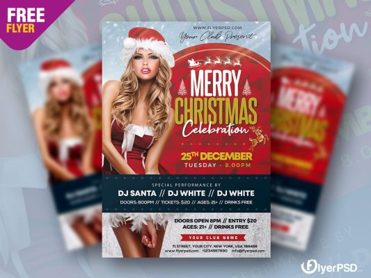Awesome Christmas Party Flyer PSD