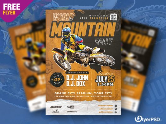 Motocross Rally Flyer PSD