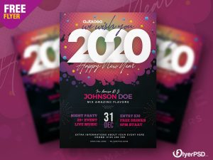 New Year 2020 Party Flyer PSD Template