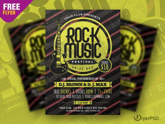 Rock Music Festival Flyer PSD