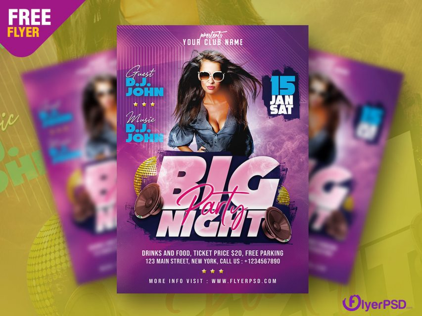Club Night Party Flyer PSD