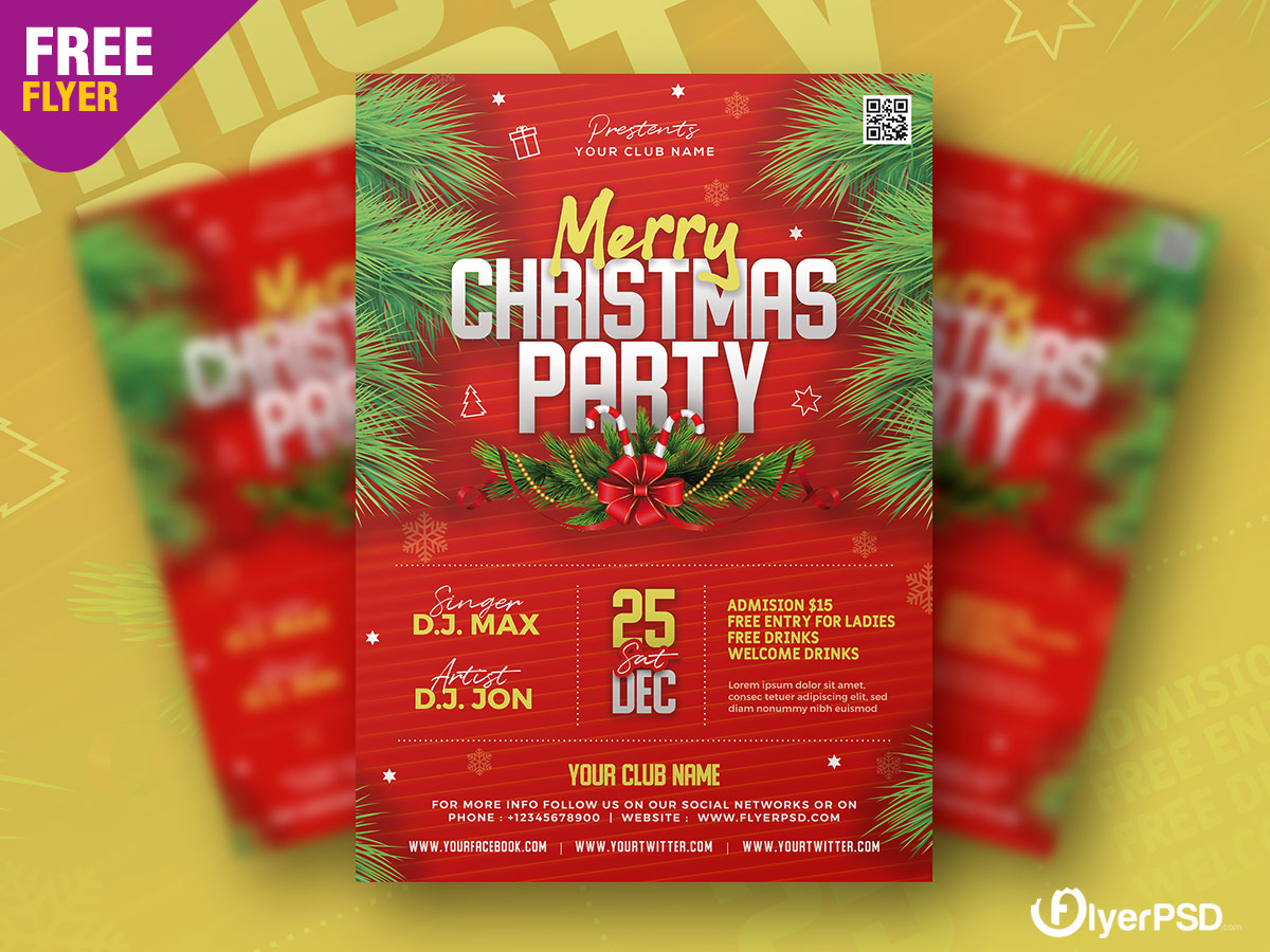 Merry Christmas Party Flyer PSD