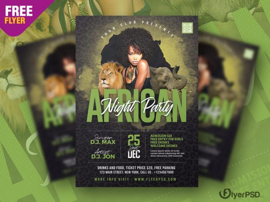 African Night Party Flyer PSD