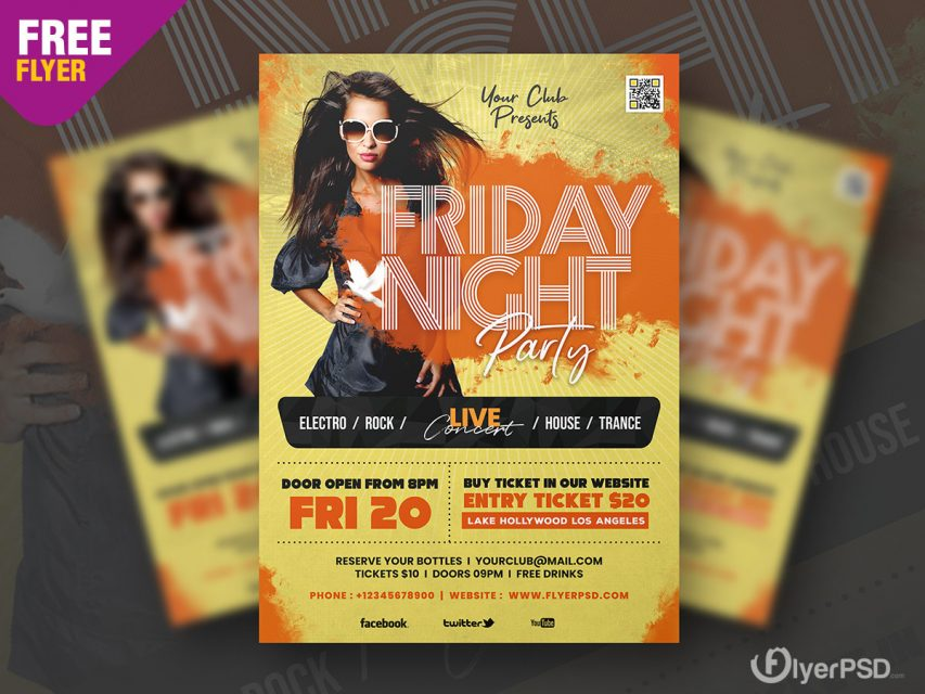 Friday Night Music Party Flyer PSD