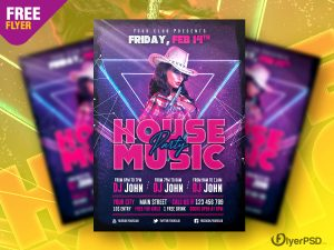 House Music Party Flyer PSD