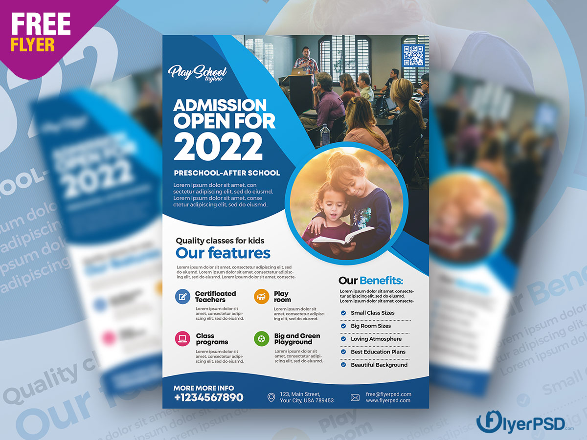 School Admission Flyer PSD Template