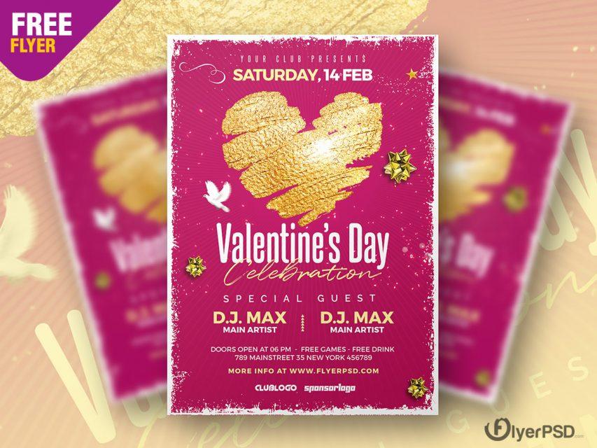 Valentine's Day Celebration Flyer PSD
