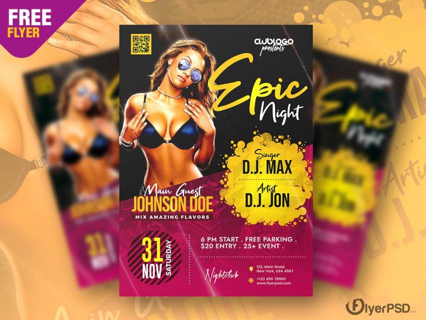 Club Night Party Flyer PSD