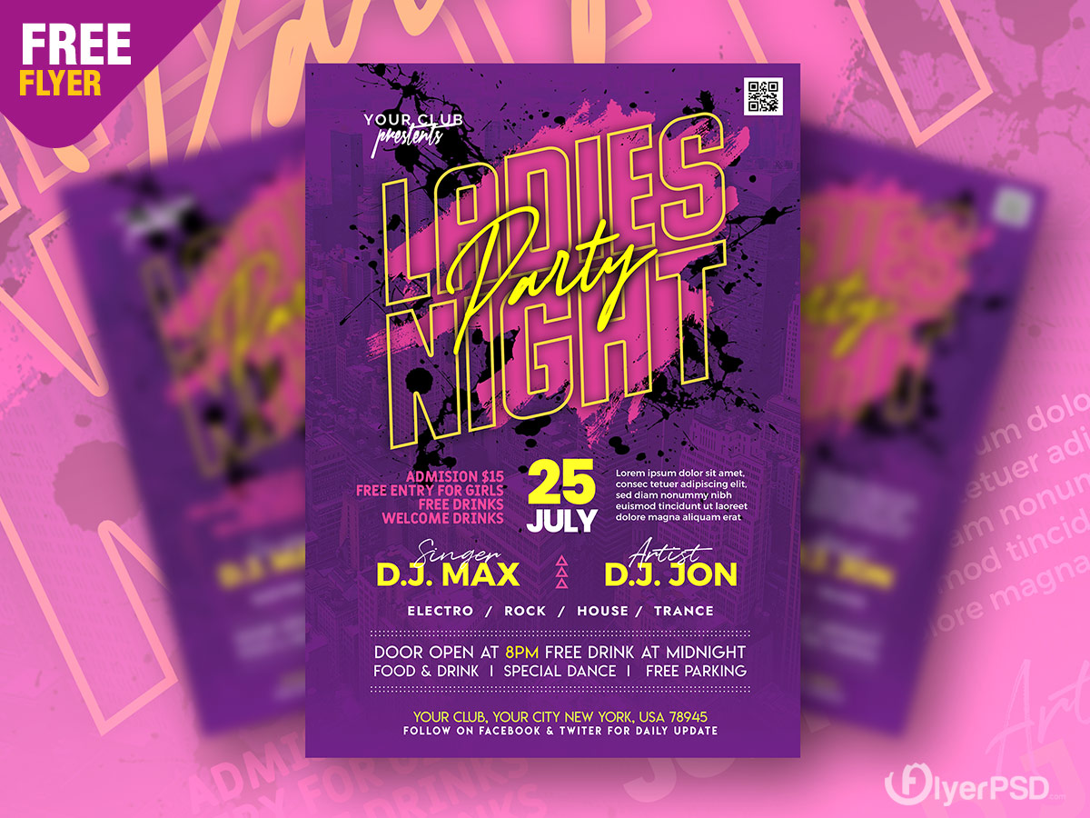 Ladies Night Music Party Flyer PSD