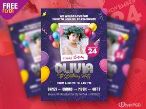 Birthday Party Invitation Flyer PSD