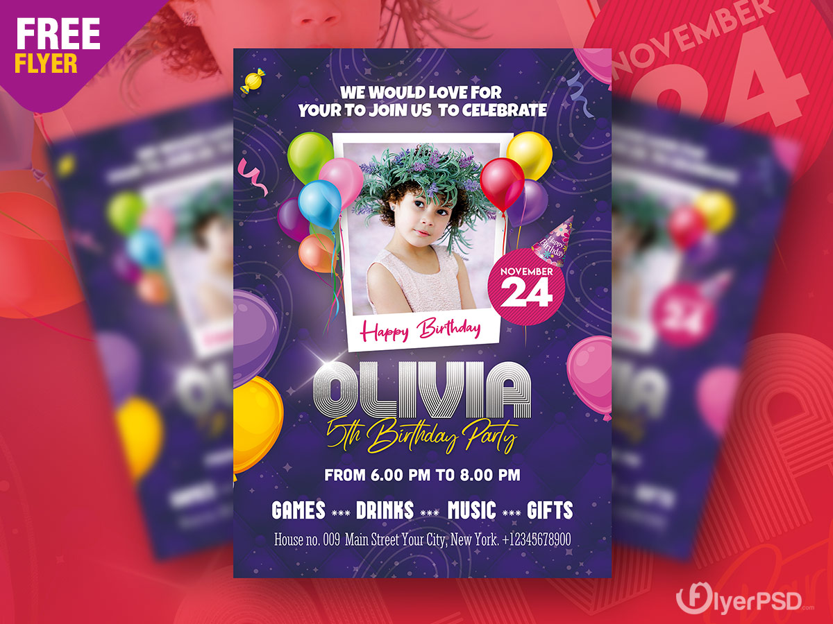 Birthday Party Invitation Flyer PSD