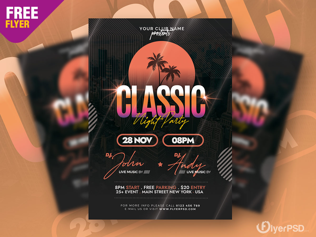 Classic Music Party Flyer PSD