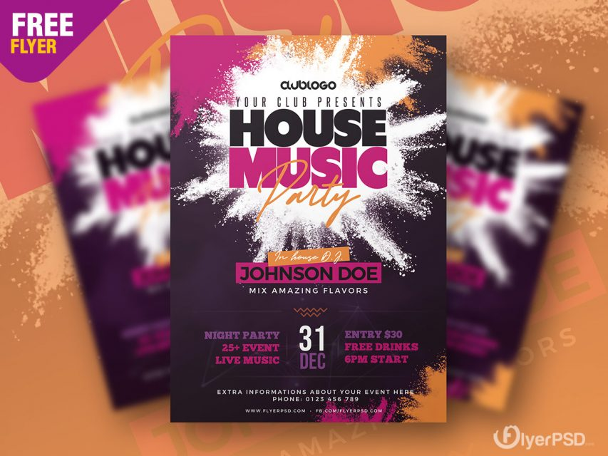 House Music Party Flyer PSD Template