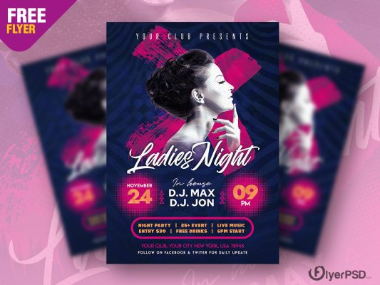 Ladies Night Club Party Flyer PSD