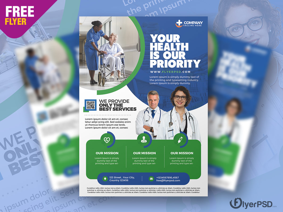 Medical Care and Hospital Flyer PSD