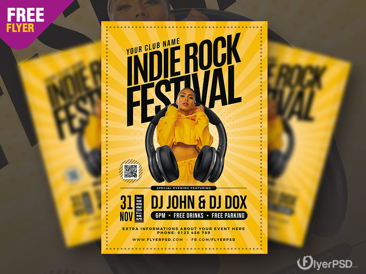 Indie Rock Music Event Flyer PSD
