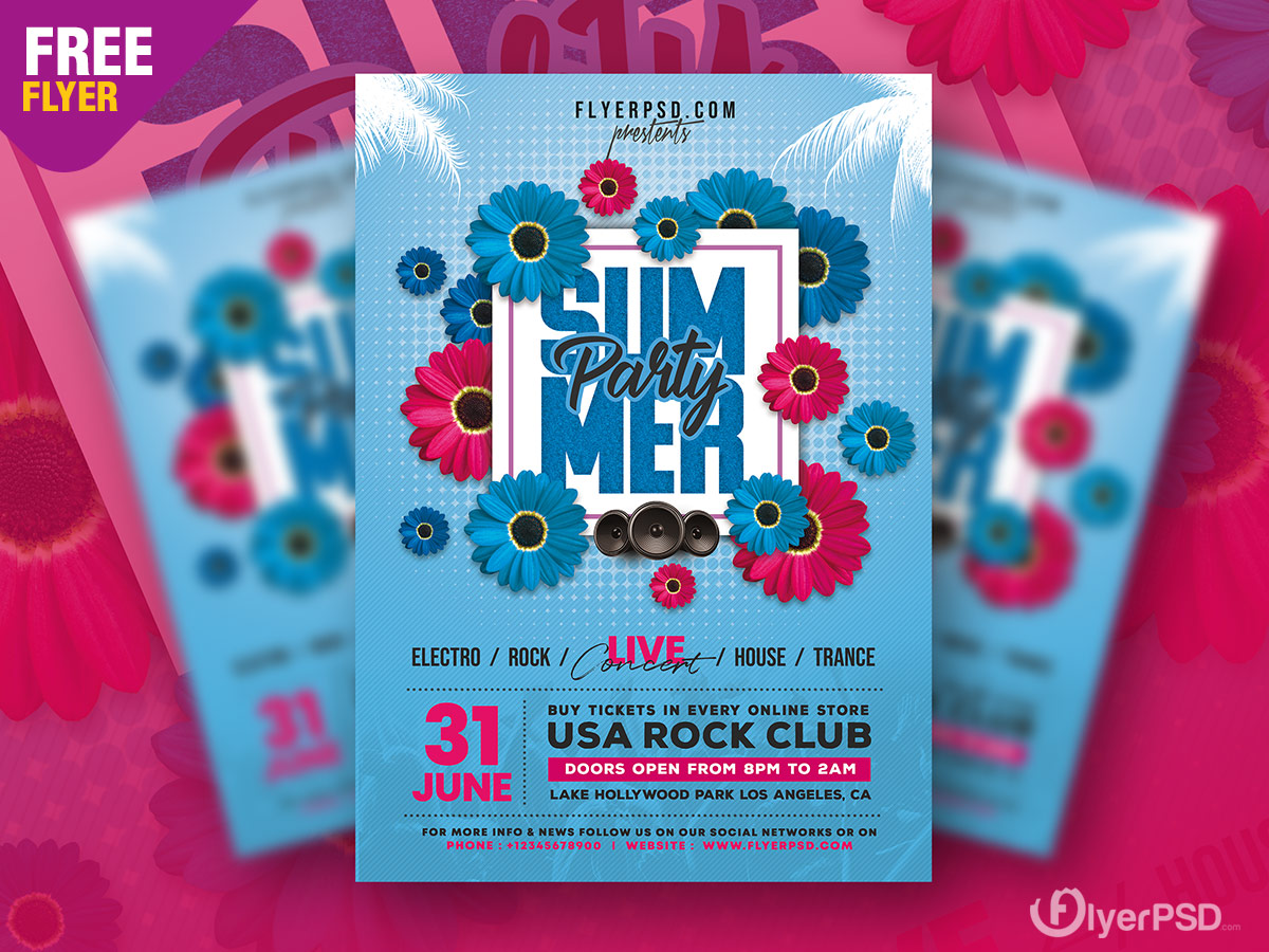Summer Party Event Flyer PSD