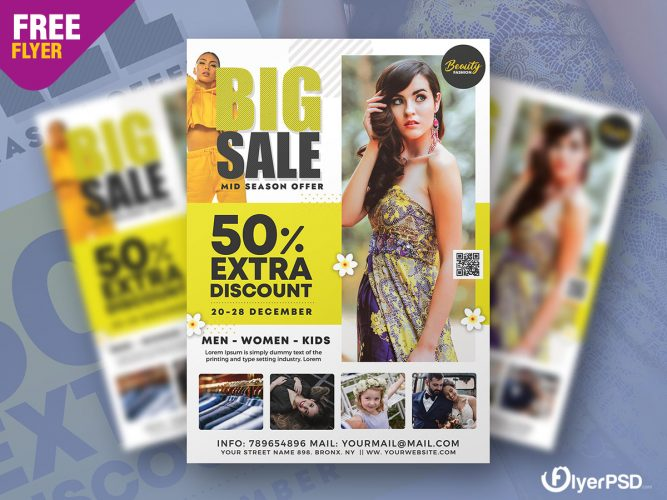 Minimalist Big Sale Flyer PSD