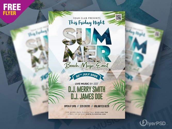 Summer Beach Music Event Flyer PSD