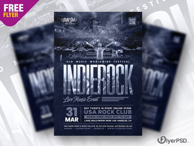 Indie Rock Live Music Event Flyer PSD
