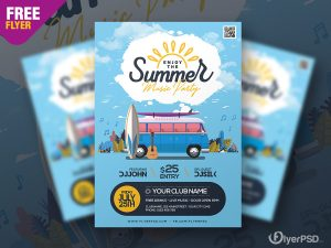 Summer Theme Party Flyer PSD