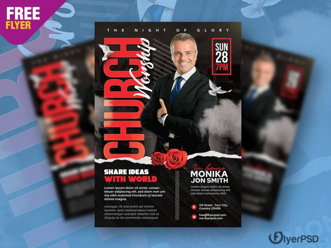 Church Worship Event Flyer PSD