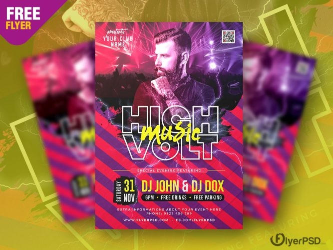 High Voltage Music Party Flyer PSD