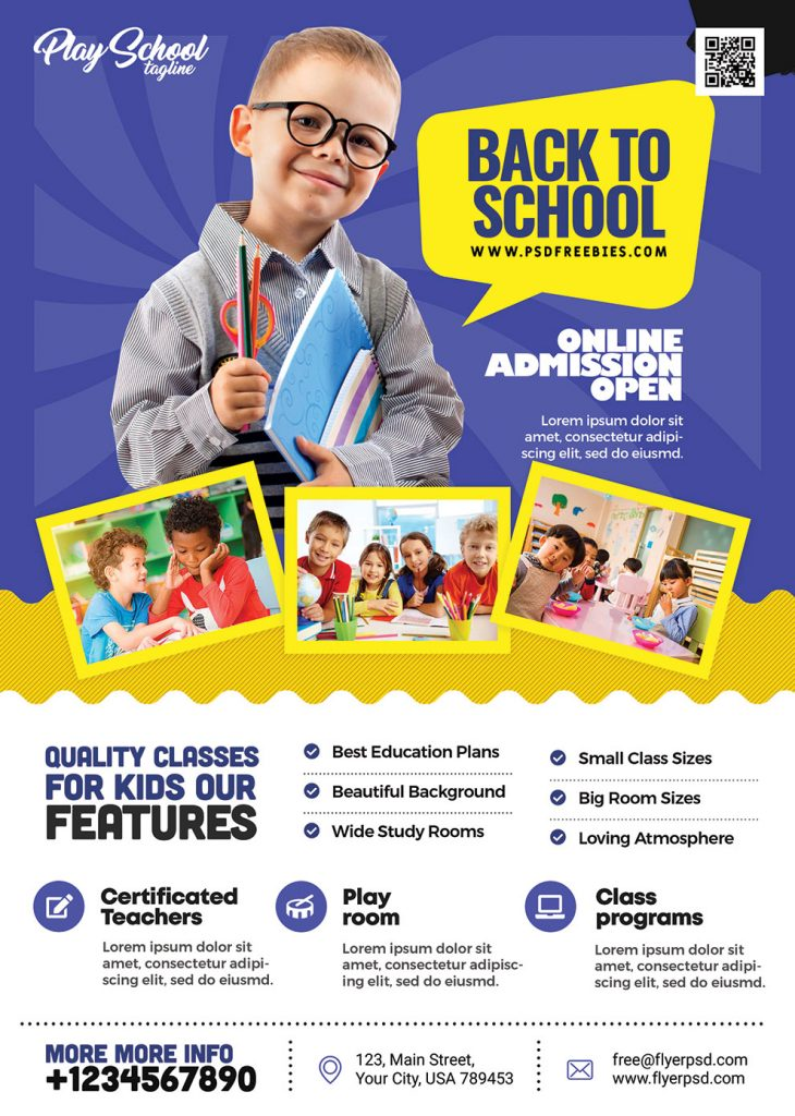School Kids Admission Open Flyer PSD Template
