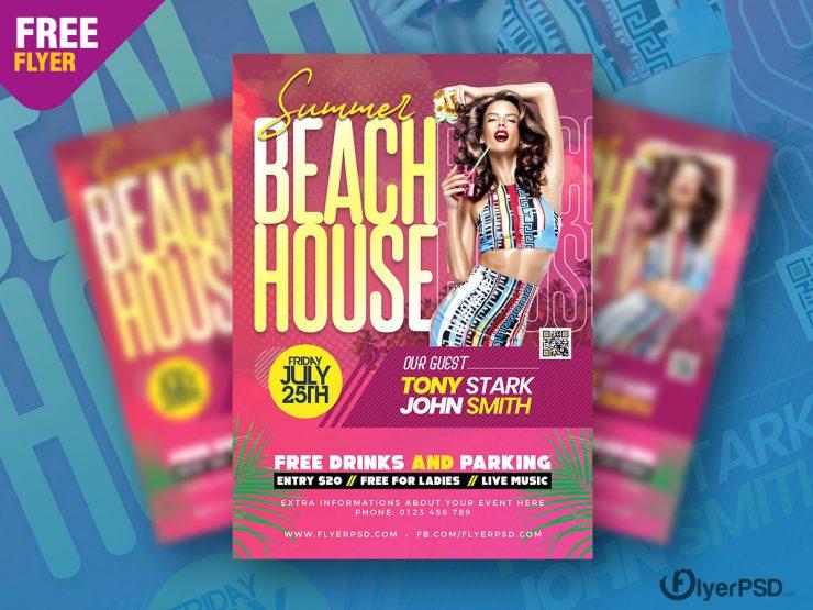 Summer Beach House Party Flyer PSD