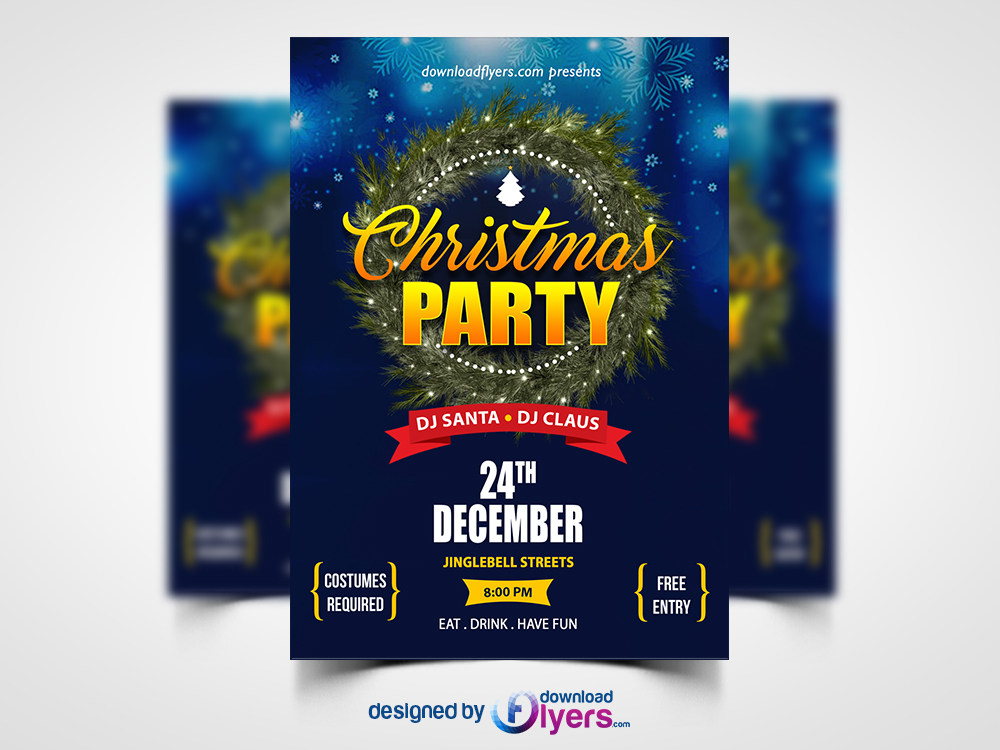 christmas party flyer template free psd flyer psd - Free Psd Flyer Templates