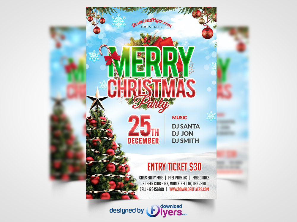 free christmas brochure templates - christmas party flyer free psd template flyer psd