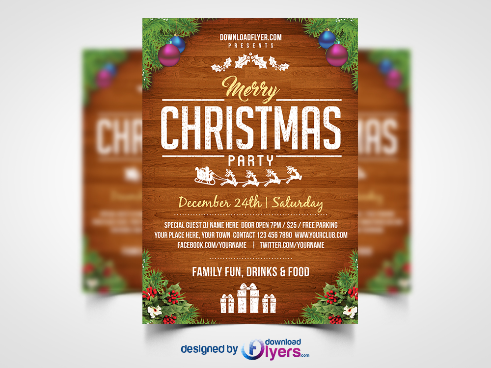 Free Christmas Party Flyer Template PSD