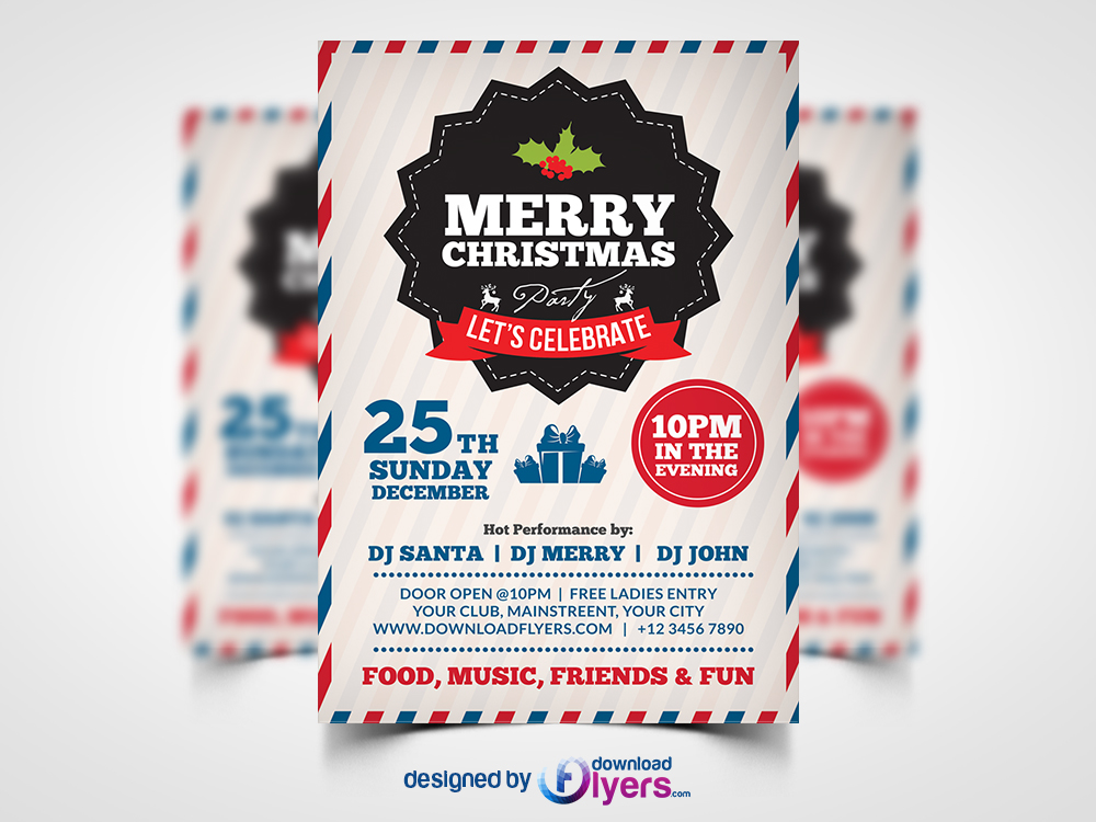Merry Christmas Party Flyer Template Psd Flyer Psd