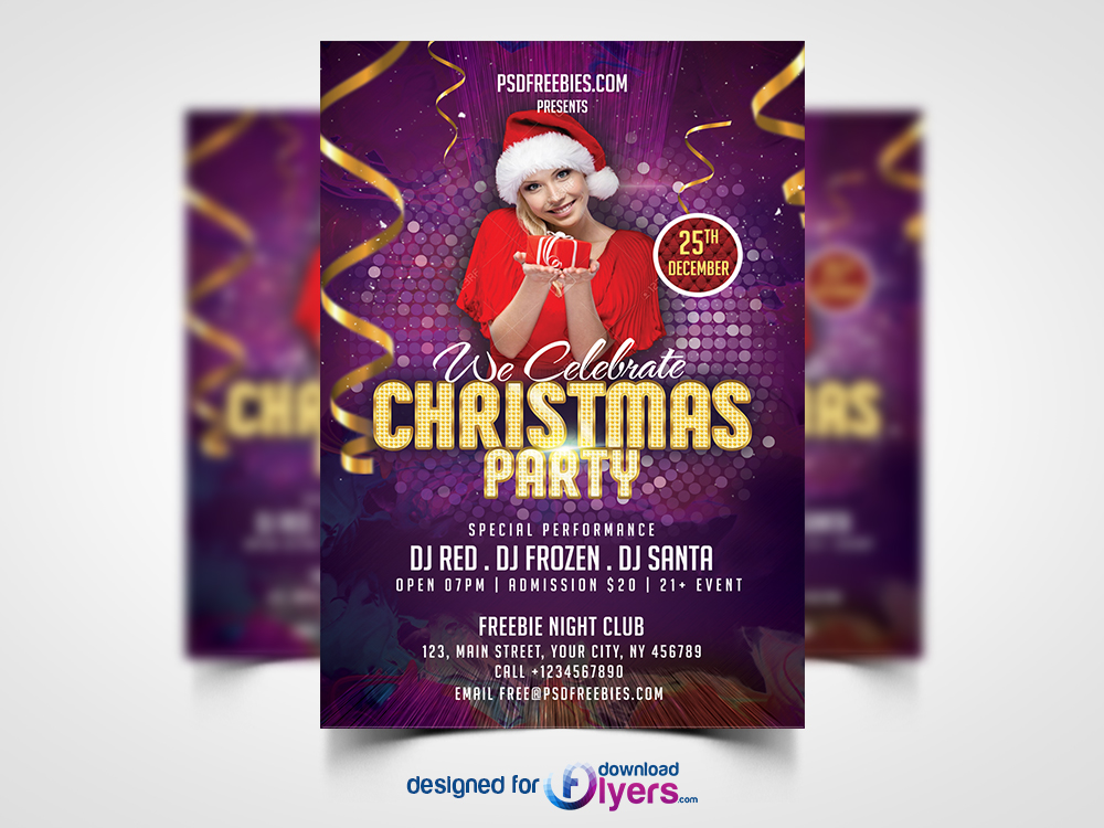 download christmas night party flyer template free psd a modern beautiful and unique flyer poster invitation design for christmas night party - Free Psd Flyer Templates