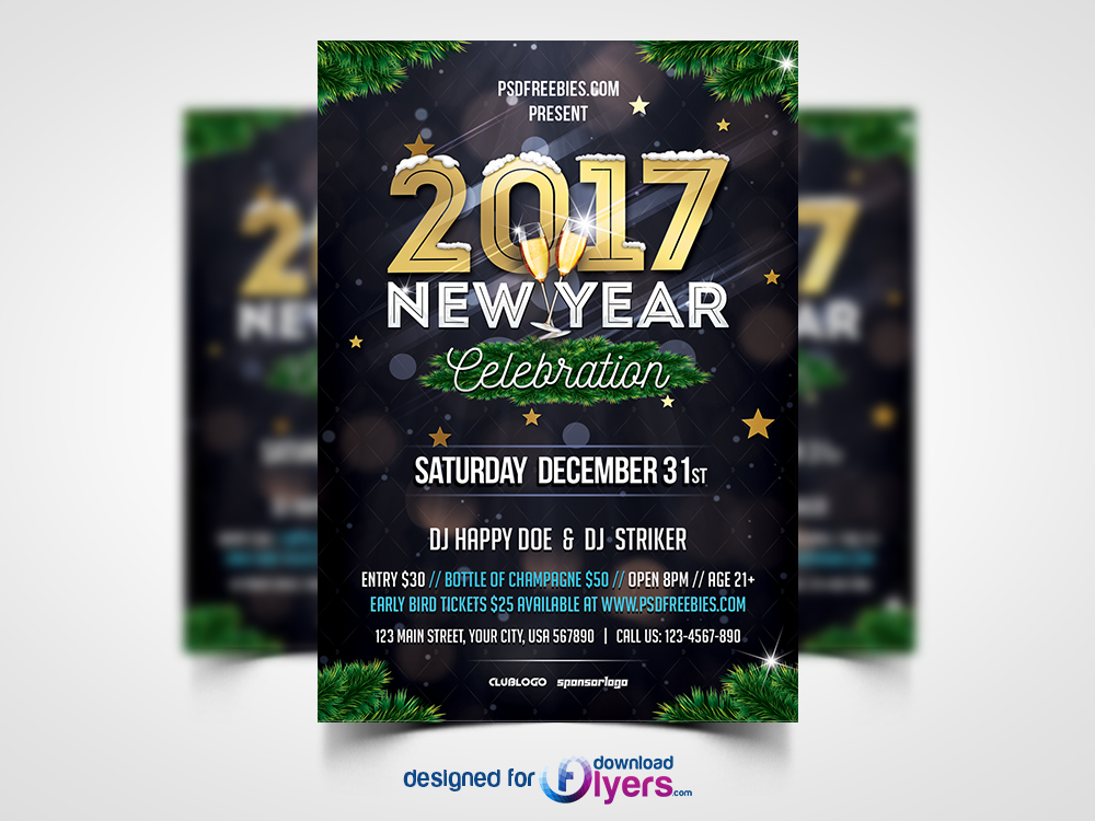 New Year Party Invitation Flyer Template PSD | Flyer PSD