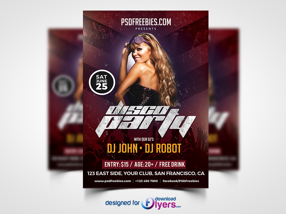 disco party poster flyer template free psd flyer psd free flyes