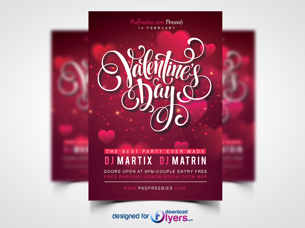 Free Valentines Party Flyer Psd Template Flyer Psd