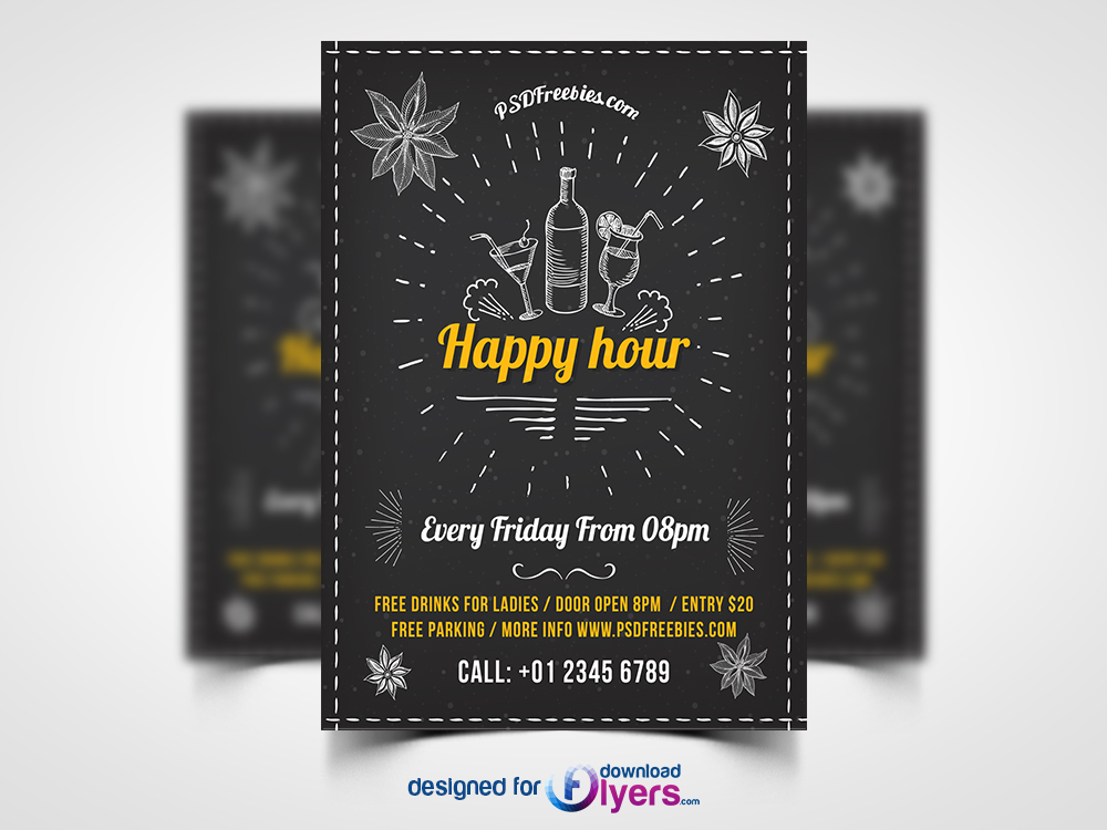 Happy Hour Party Invitation Flyer Free Psd Flyer Psd