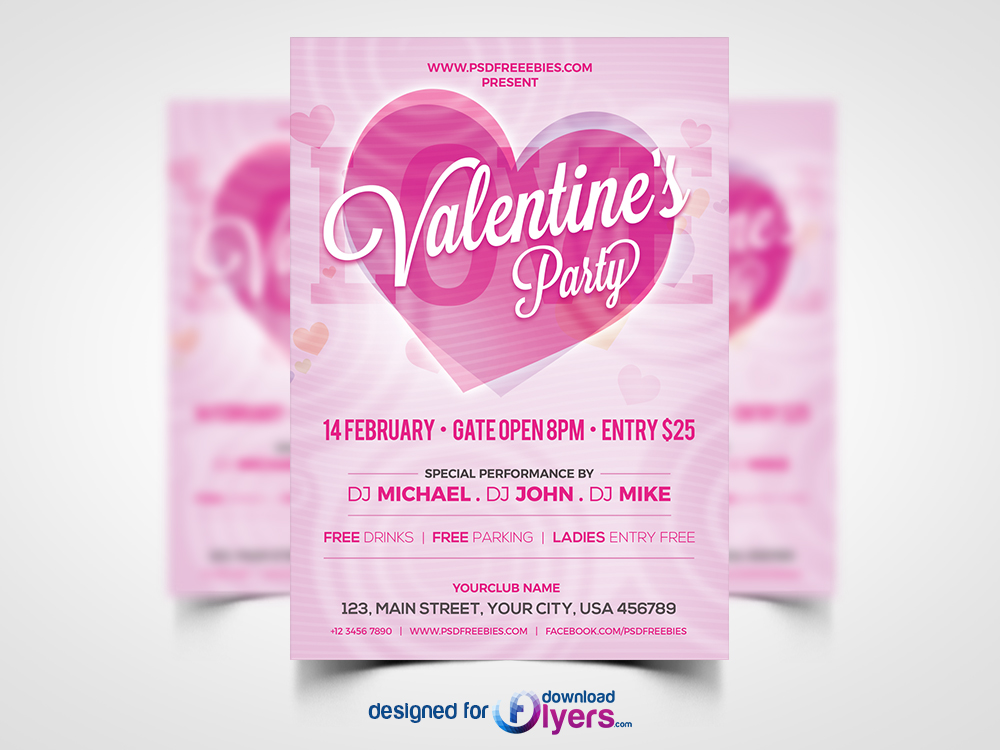 Modern Valentines Party Invitation Flyer PSD | Flyer PSD